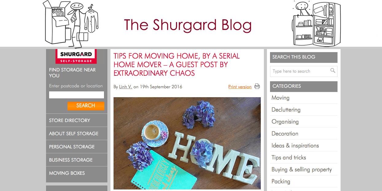 Sarah Christie, Extraordinary Chaos Featuring on the Shurgard Blog