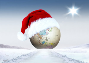 Merry Christmas and globe