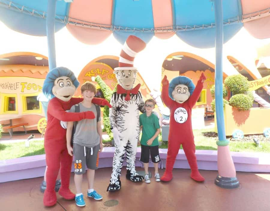 Meeting thing One, Two and the Cat at Dr Suess Landing at Universal Orlando