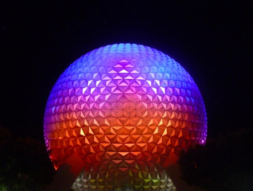 The Epcot globe lit up at night www.extraordinarychaos.com