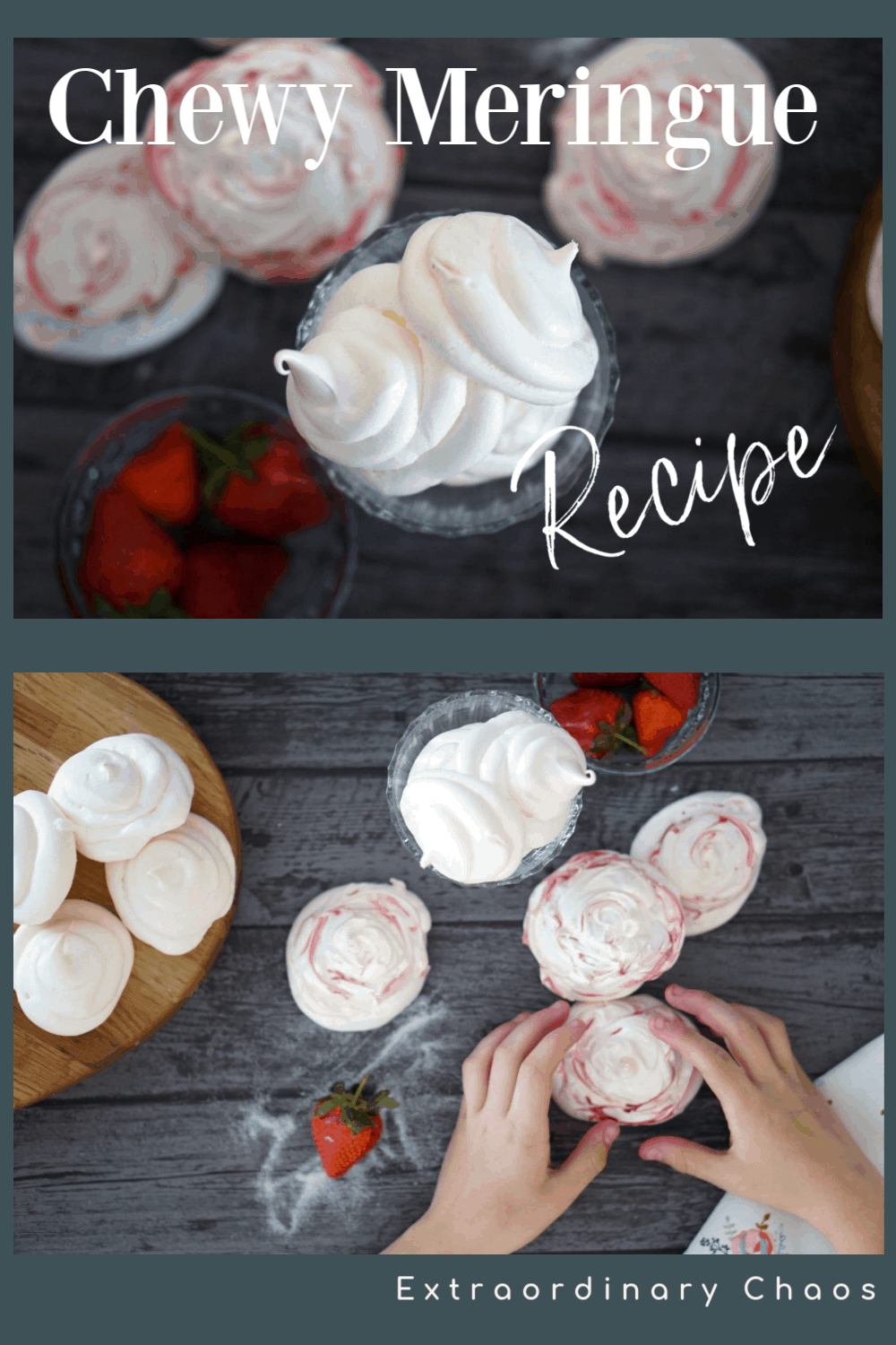 Easy Chewy Meringue recipe with pink swirls