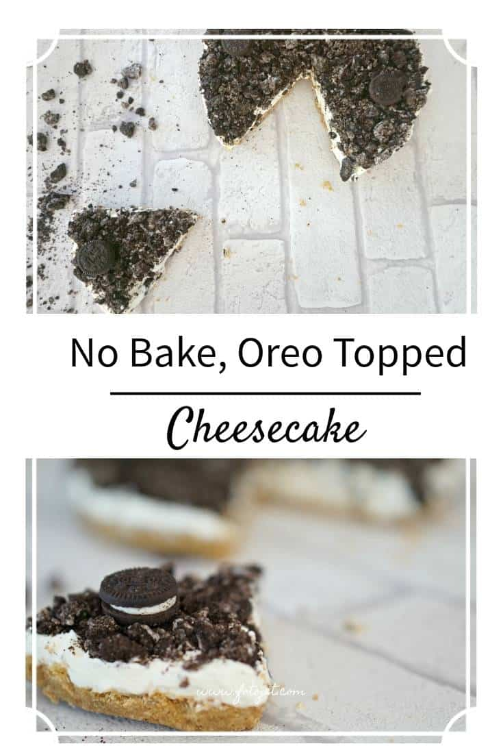 No Bake, Oreo Topped Vanilla Cheesecake