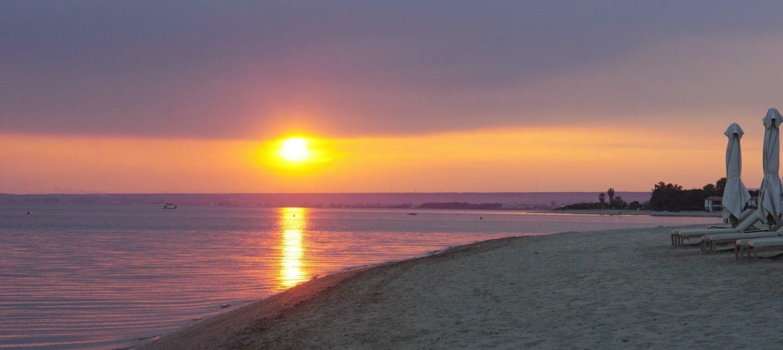 A Sunset At Ikos Olivia, Greece