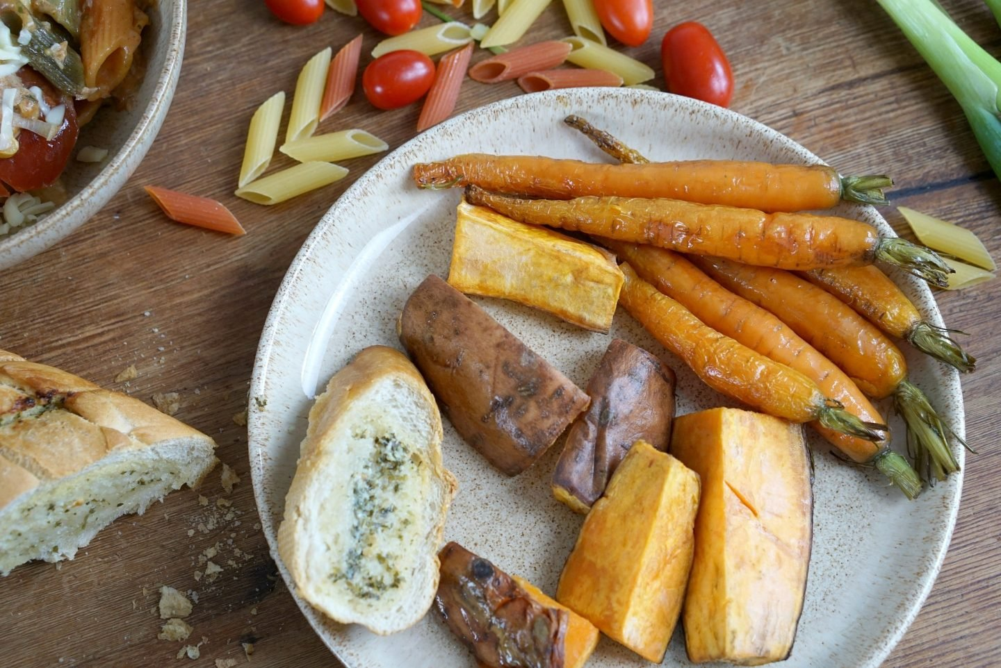 Roasted Carrots and sweet potatoe wedges www.extraordinarychaos.com