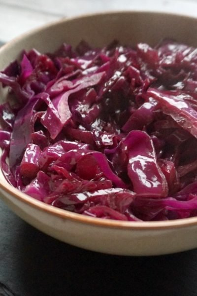 sweet red cabbage recipe, perfect to serve with roast dinner
