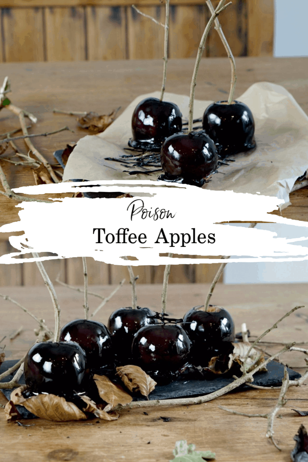 Halloween food for kids party ideas, poison toffee apples