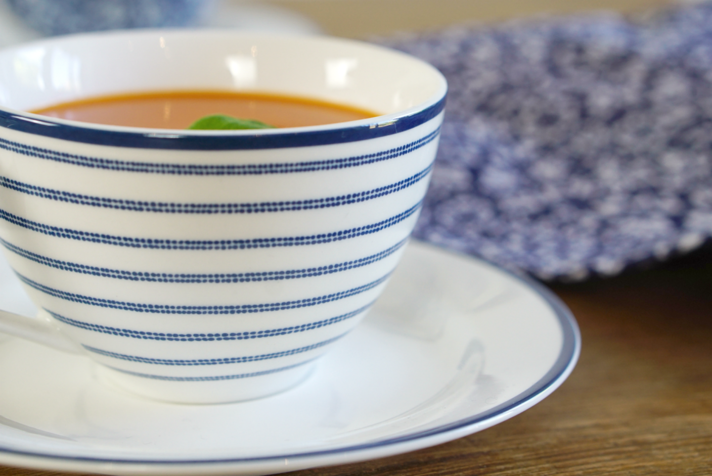 Tea cup in candy stripe china white and blue from Laura Ashley www.extraordianrychaos.com