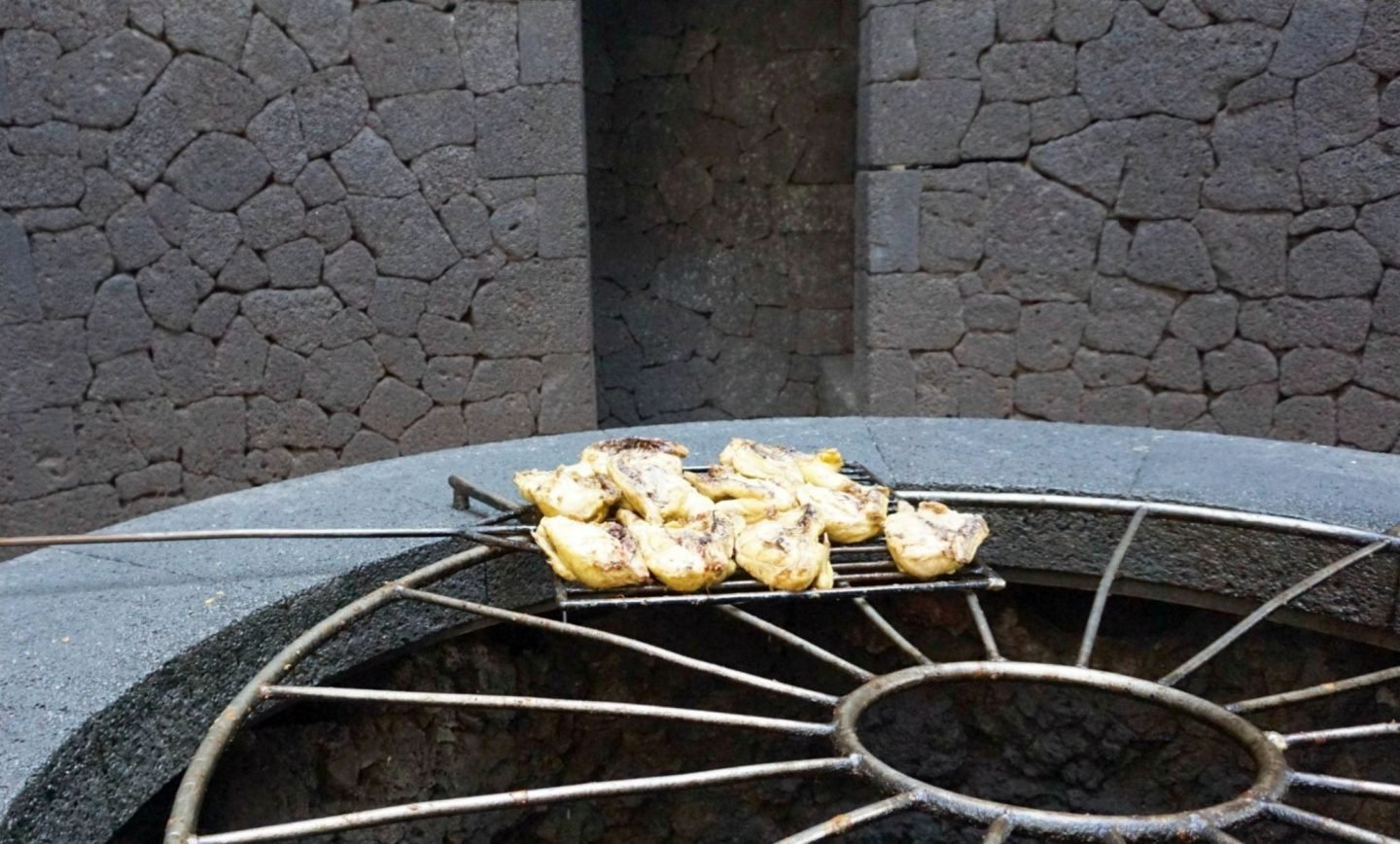 Chicken cooking on volcano heat at El Diablo Restaurant at Timanfaya National Park