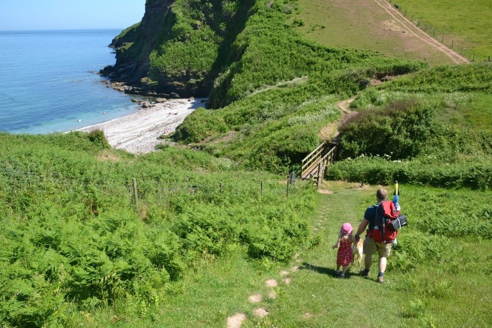 Famly-walking-on-South-West-Coast-Path