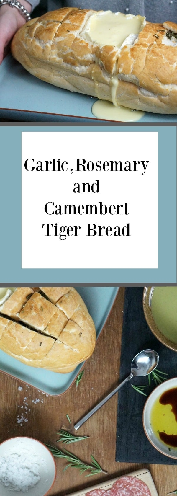 Garlic, Rosemary and Camembert Tiger Bread served with soup the perfect lunch for entertaining or lazy afternoons