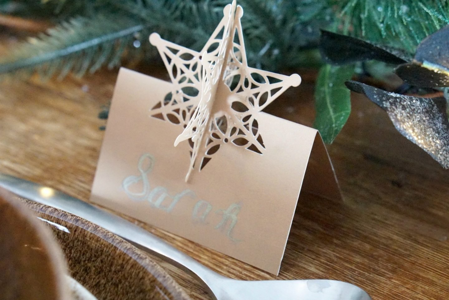 Home Made Snow Flake Place Card from Cricut Air www.extraordinarychaos.com