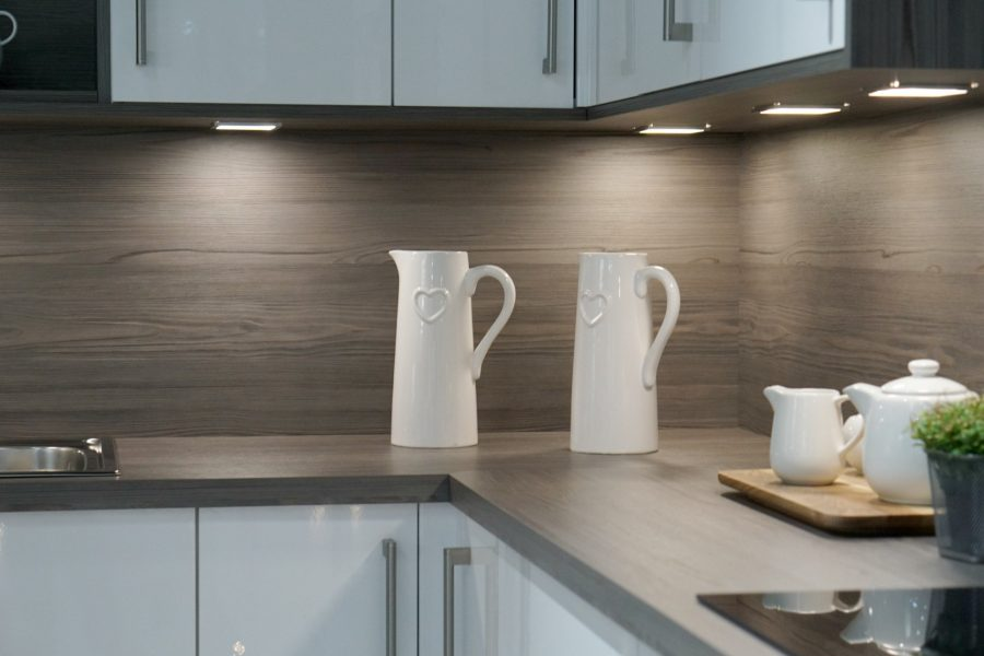 Flush fitting kitchen cupboard lights