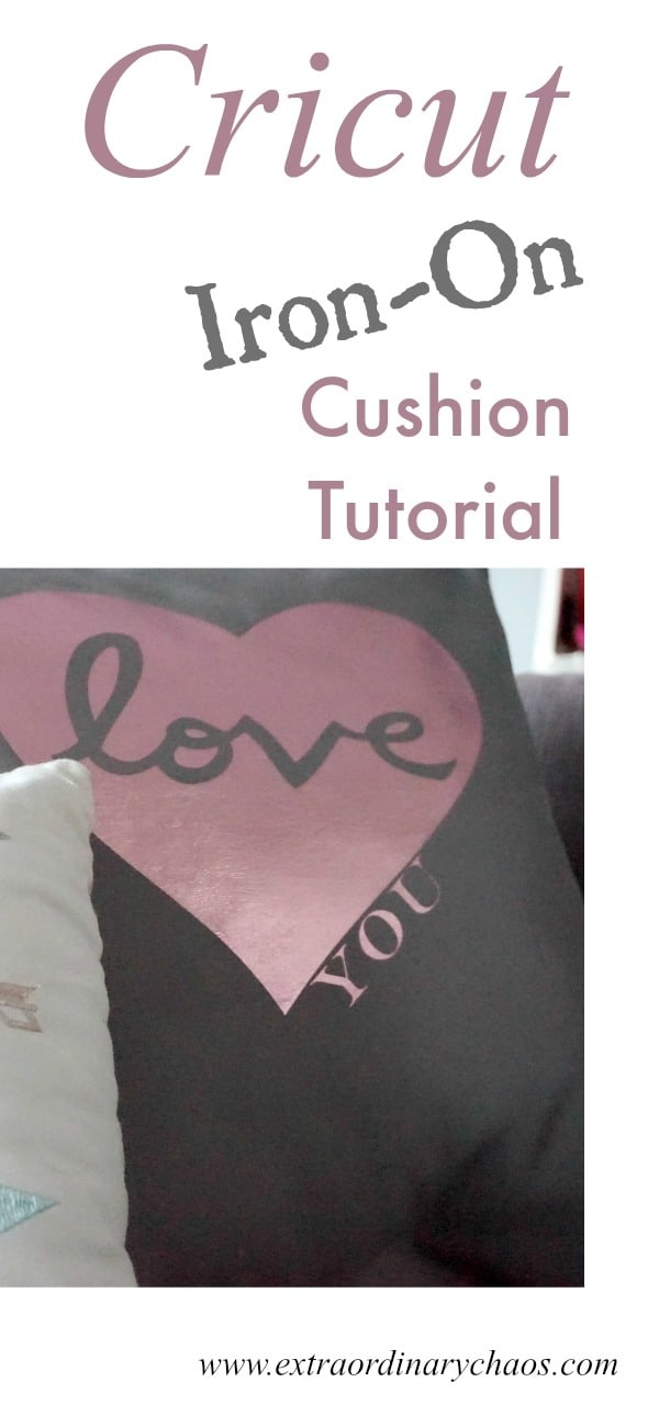 Cricut Iron-On Heart Cushion Tutorial and quick and easy way to decorate cushions for interior projects and crafting afternoons