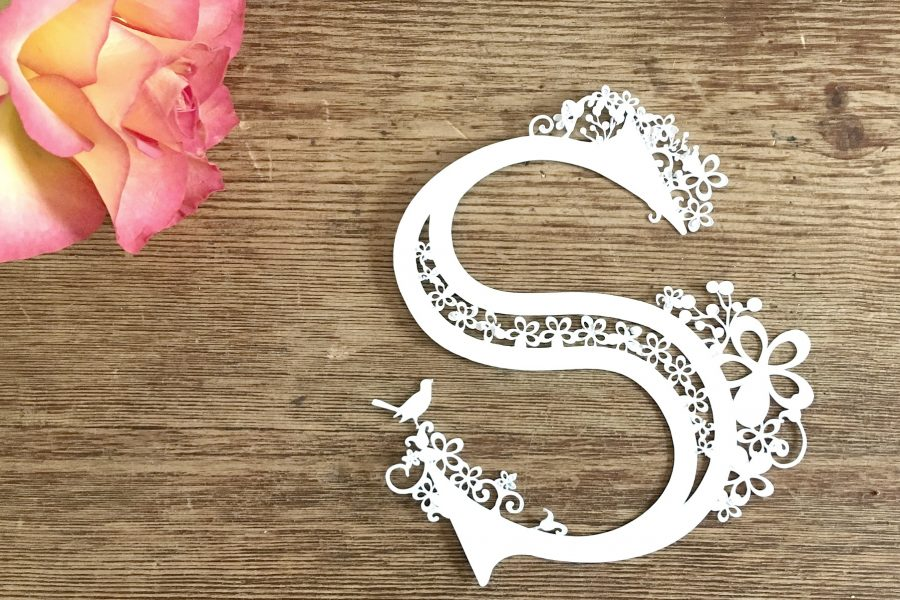 Paper-cut Monogram S made with the Cricut Maker www.extraordinarychaos.com