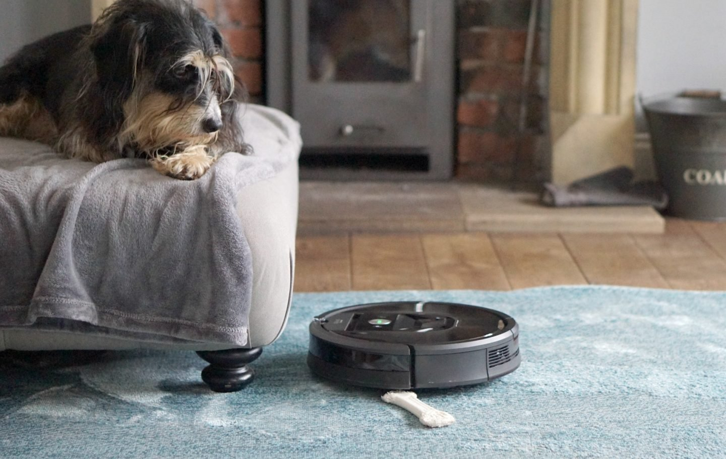 The Roomba can adjust between wood floors and rugs seamlessly