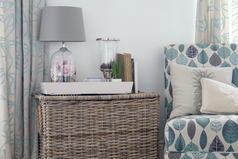 Using a wicker basket as a side table