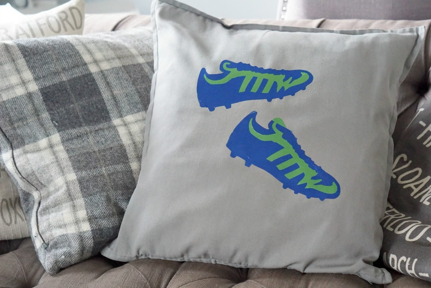 Cricut Football Boots Cushion with Iron On www.extraordinarychaos.com