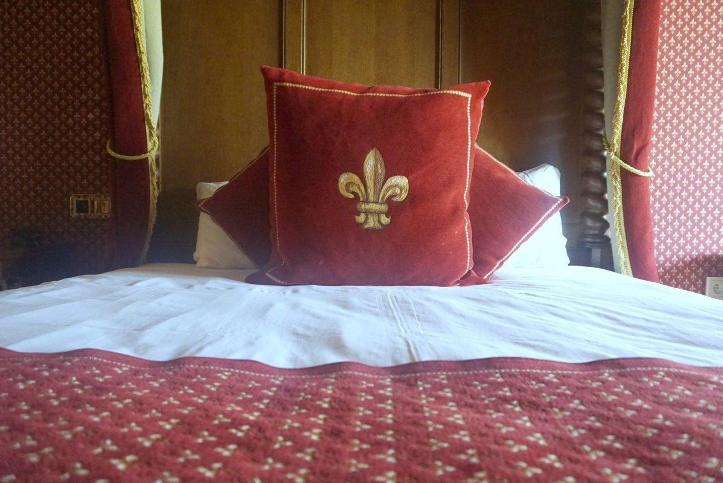 Four poster bed at Le Camp Du Drap D'Or at Puy Du Fou