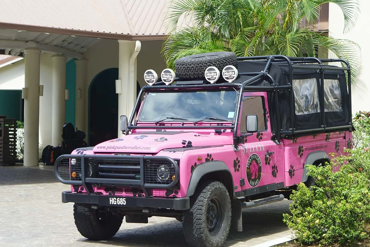 The Pink Panther Jeep from St James Club Morgan Bay