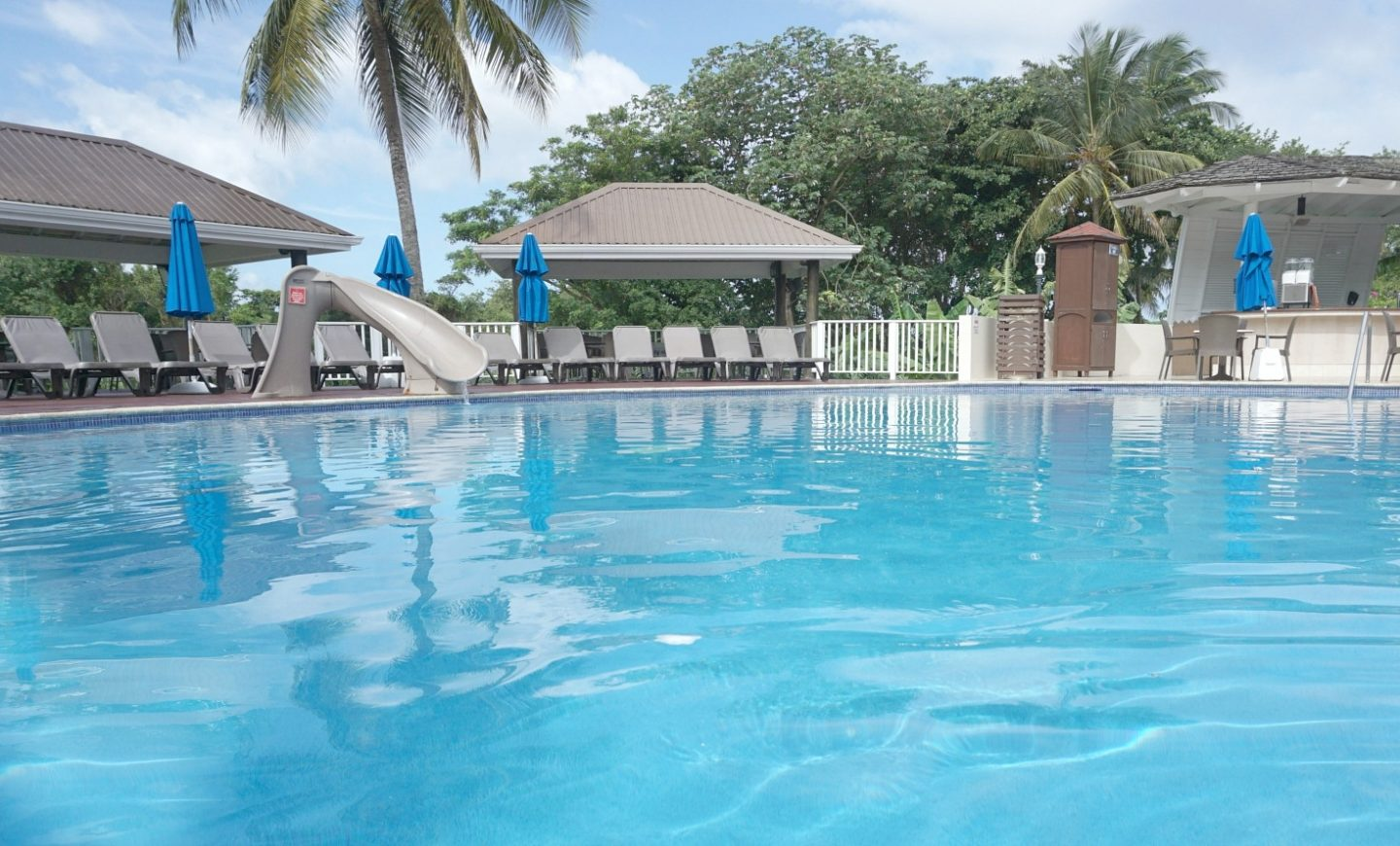 The pool near the snack bar perfect for small children at St James Club St Lucia the perfect All Inclusive Family Resort