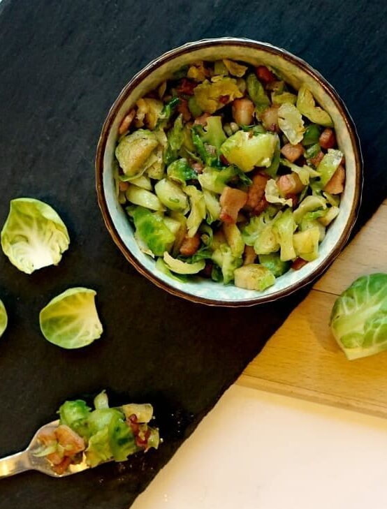 Brussel sprouts and Pancetta recipe for sunday roast www.extraordinarychaos.com