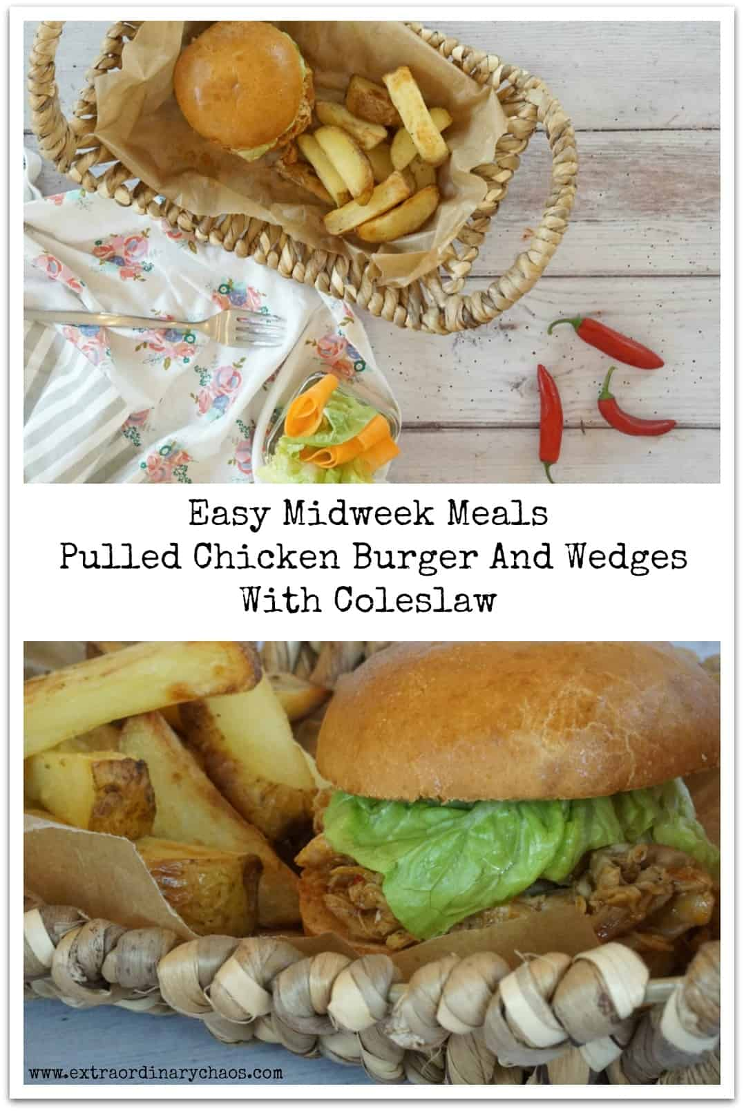 Easy Midweek Meals for busy families, BBQ Pulled Chicken Burger And Wedges With Coleslaw