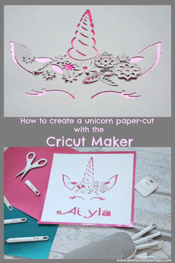 Unicorn paper-cut tutorial with the cricut maker using images from the cricut design space