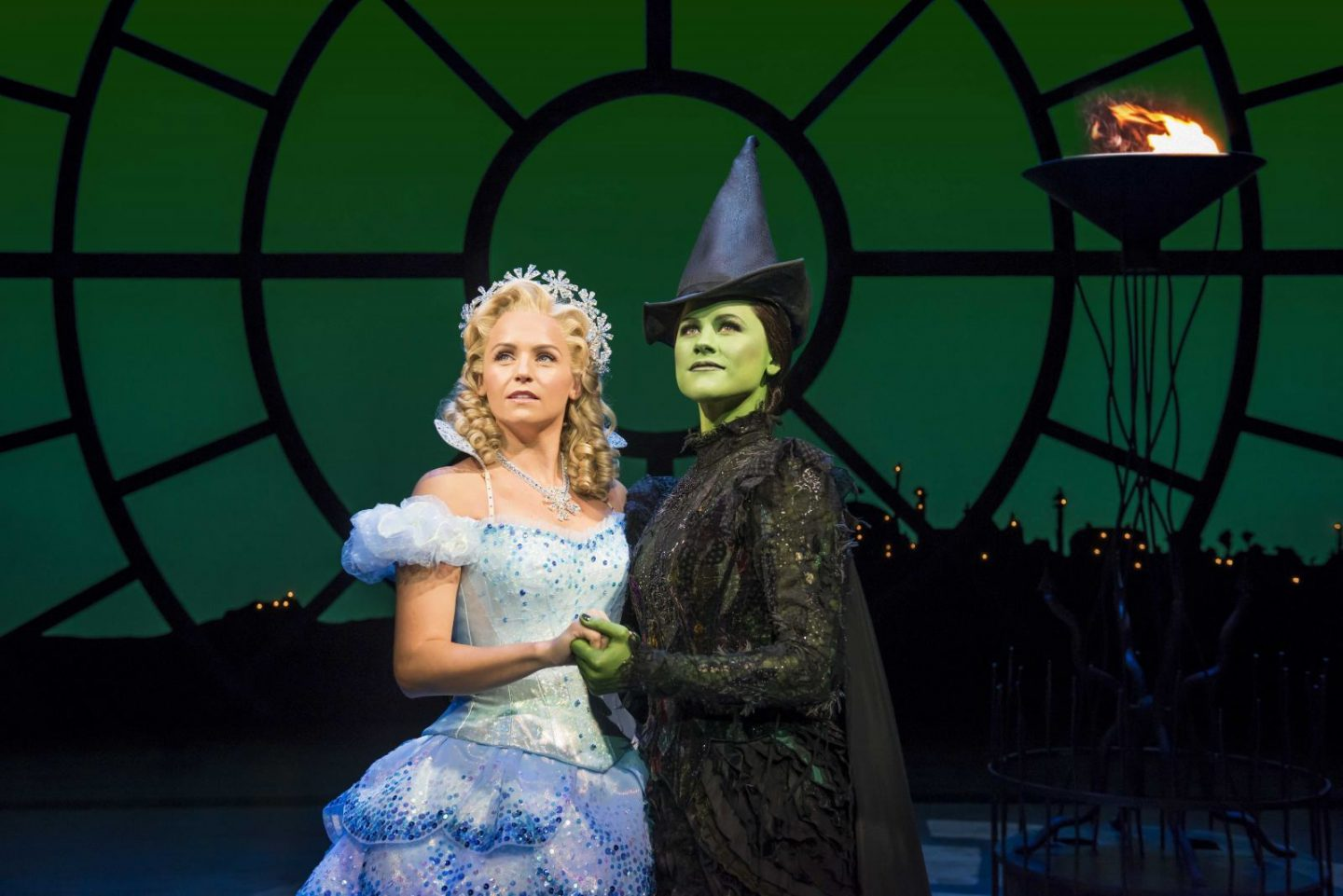 Helen Woolf as Glinda and Amy Ross as Elphaba in WICKED UK & Ireland Tour. Photo Credit Matt Crockett (2)