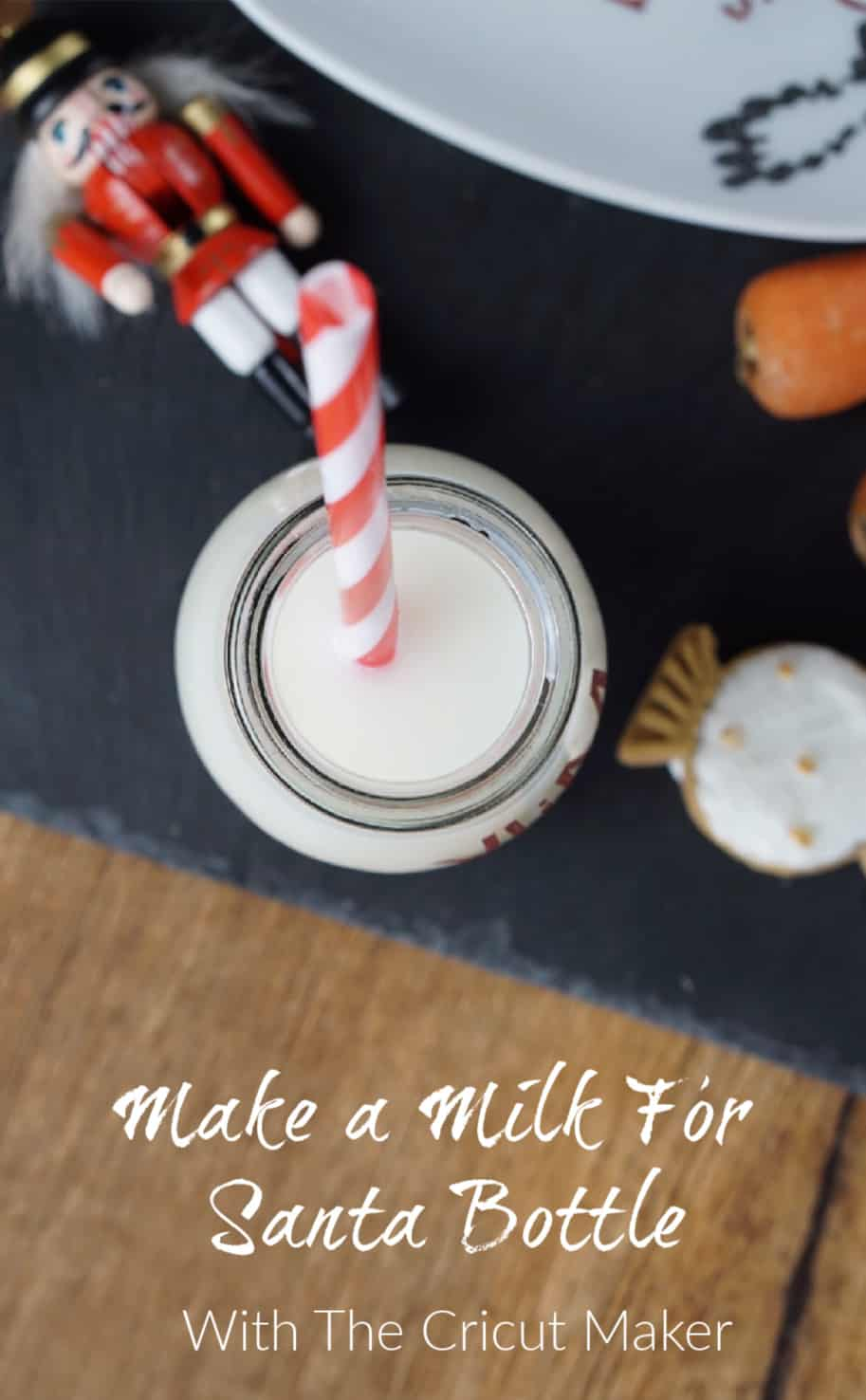 Make a milk for Santa bottle with the Cricut Maker and vinyl