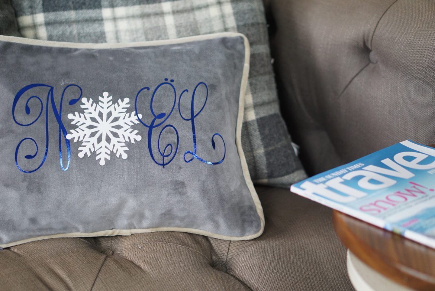 Noel Cushion with layered vinyl