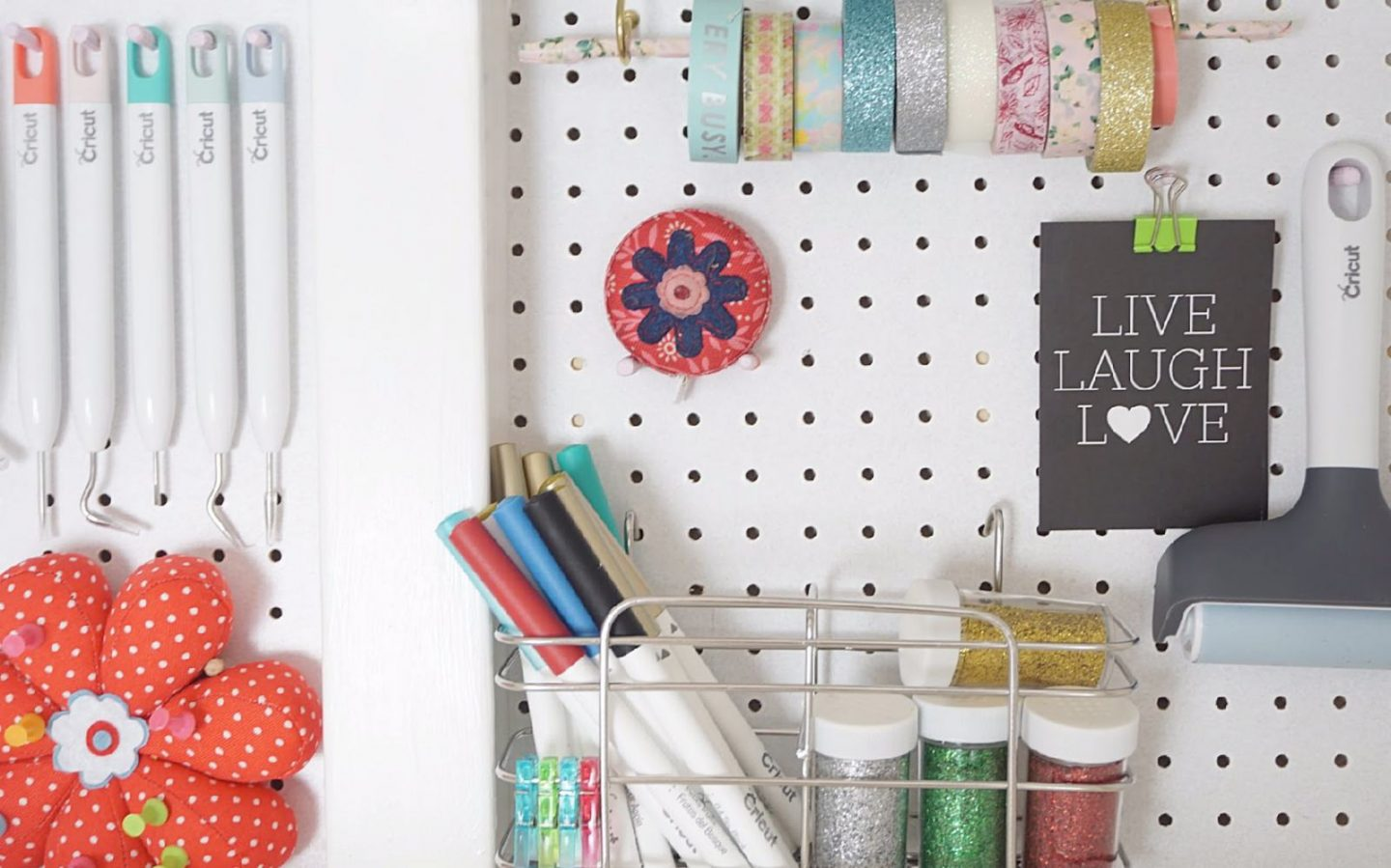 Pegboard craft cupboard