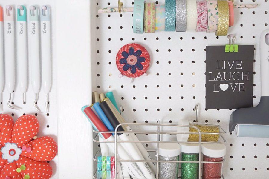 Pegboard craft cupboard