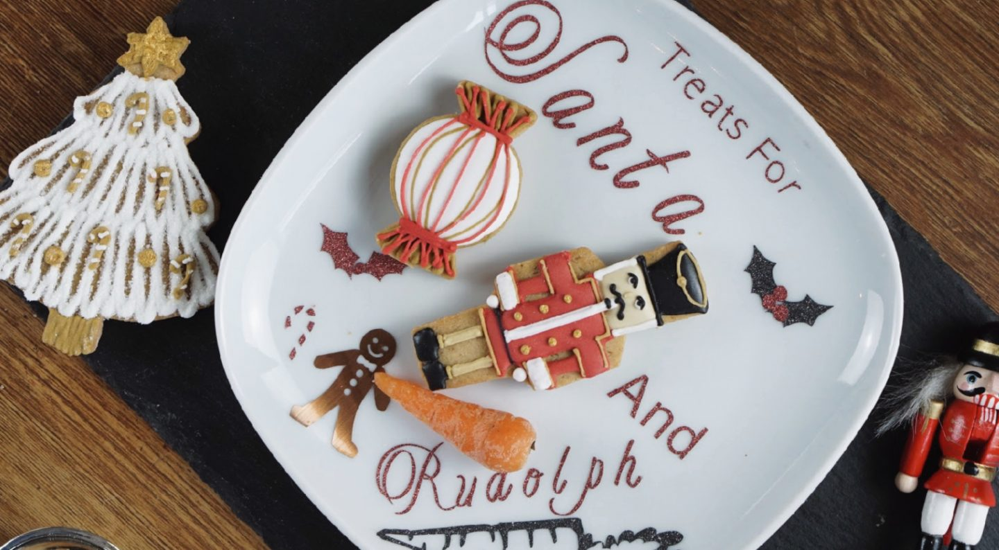 Santa and Rudolph treat plate