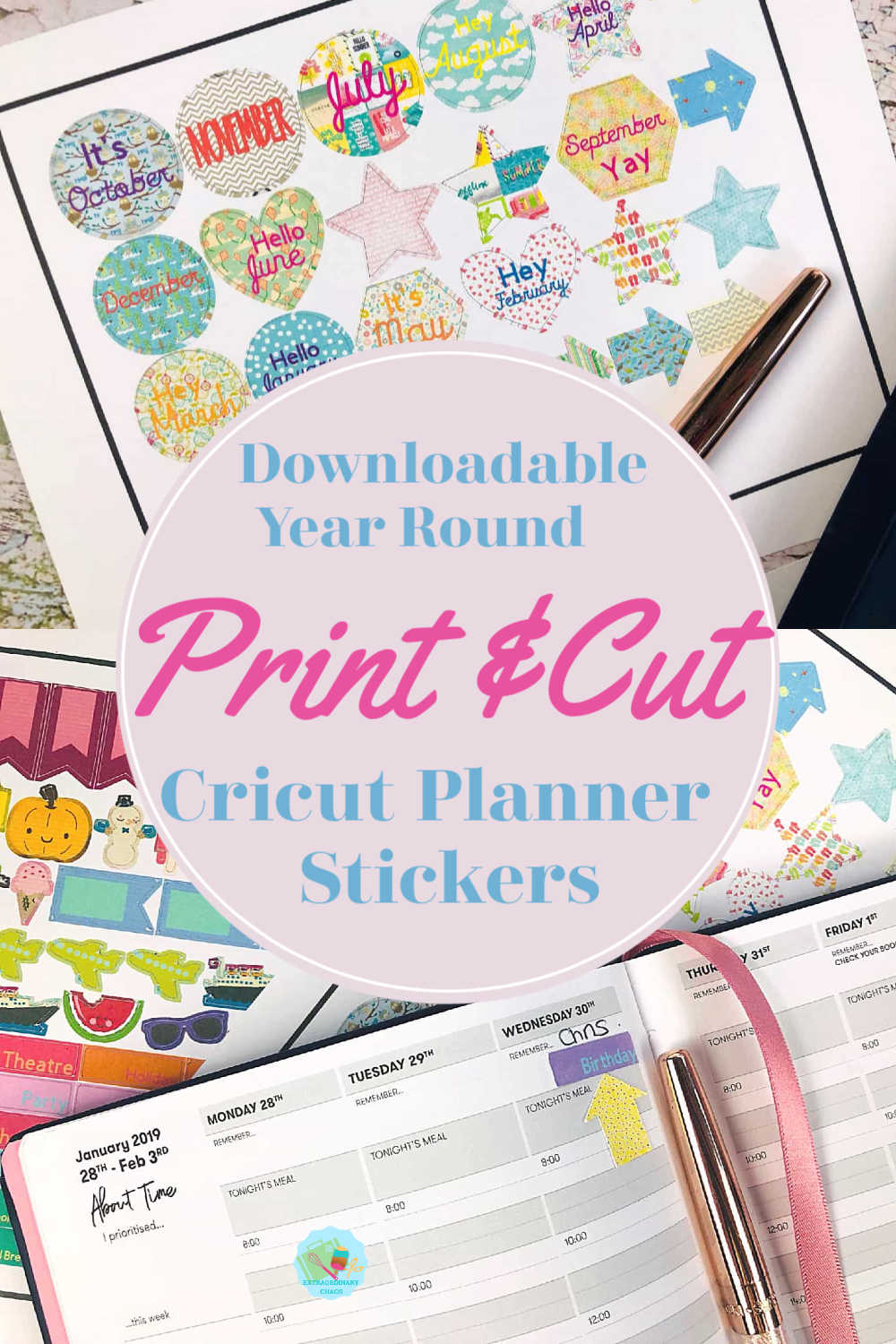 Free Downloadable Year Round Cricut Planner Stickers for all the months and seasons of the year.