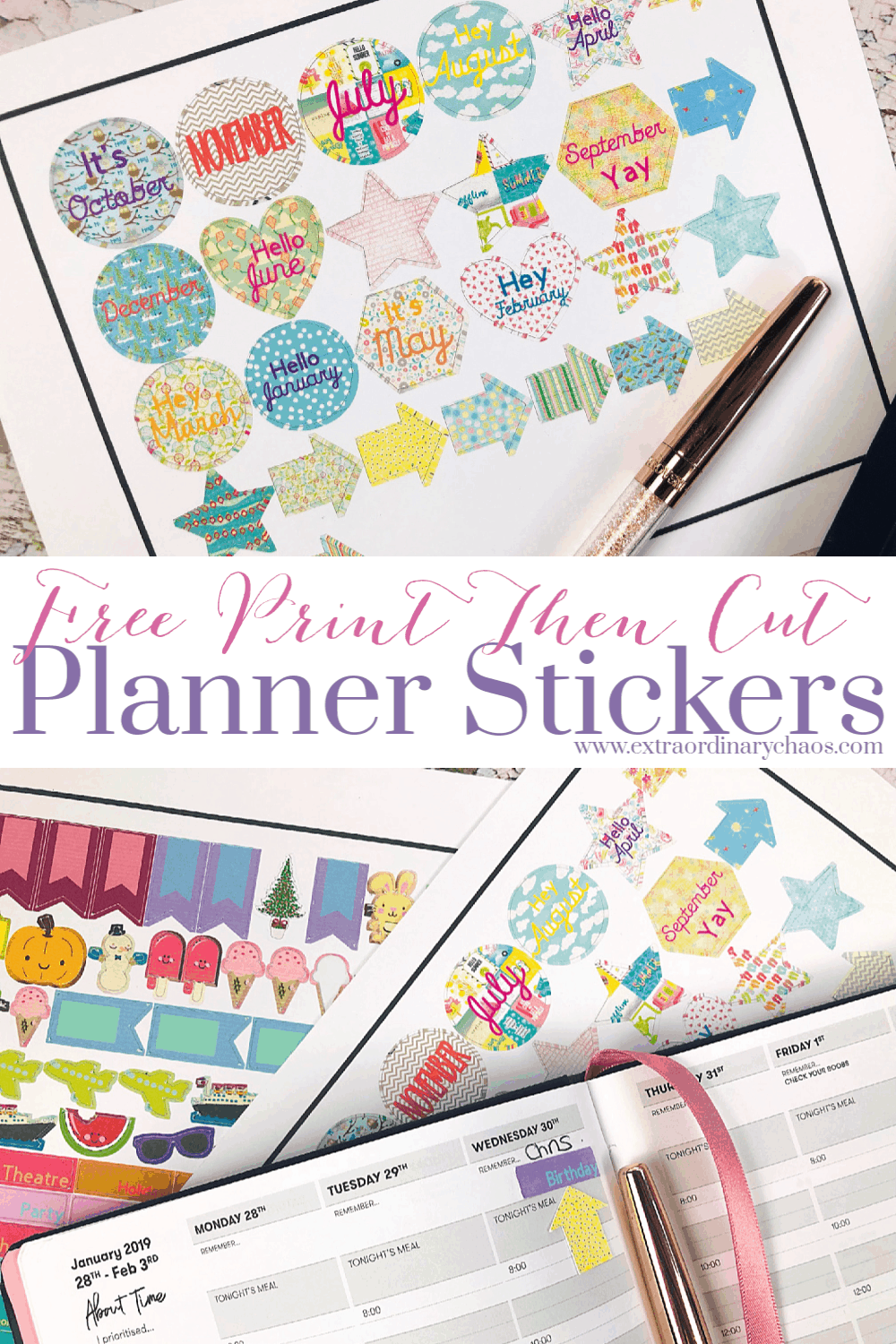 Free printable planner stickers made with the Cricut Maker #plannerstickers #cricutmaker #cricutprojects #cricutprintandcut