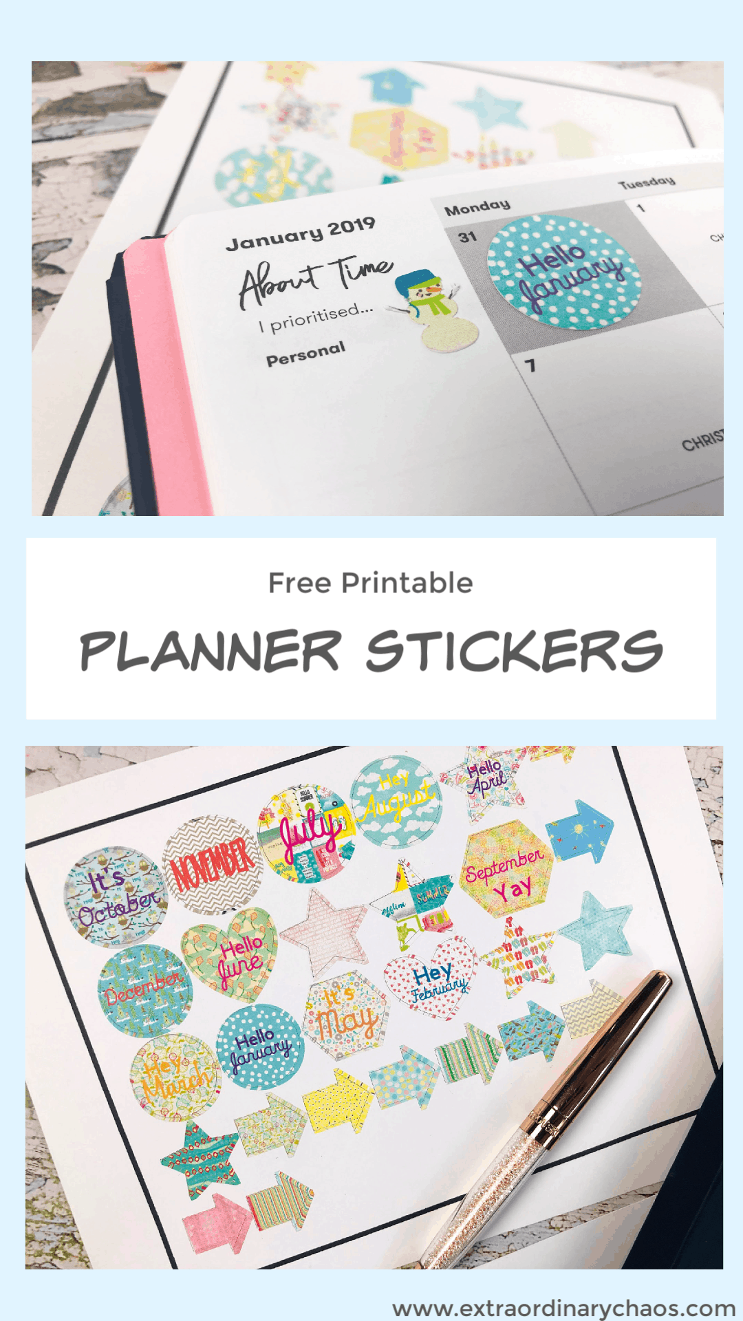 Free printable stickers for planners and bullet journals