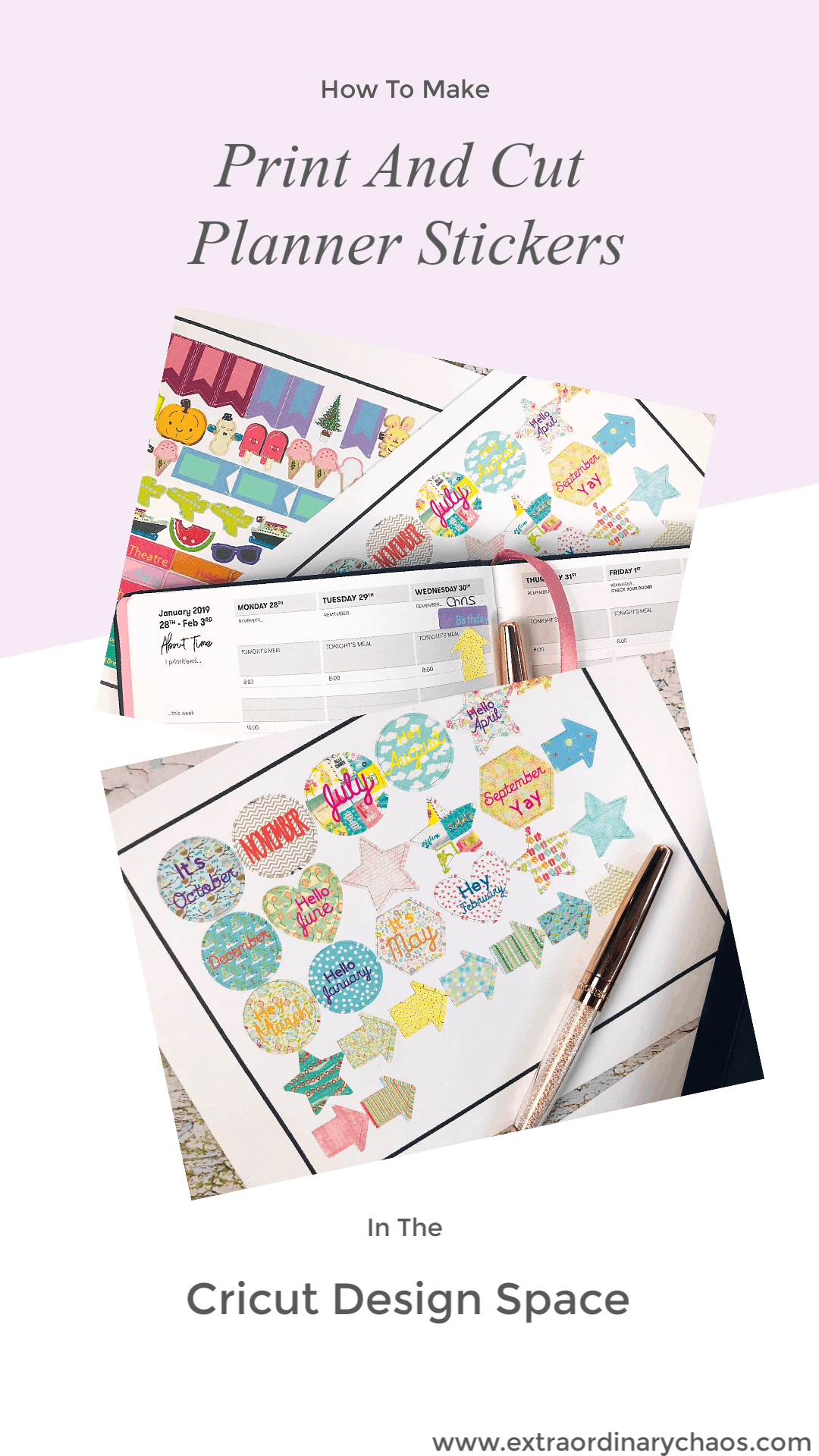 Printable Planner Sticker Cricut Cut And Print Template and how to make planner and bullet journal stickers in Cricut Design Space