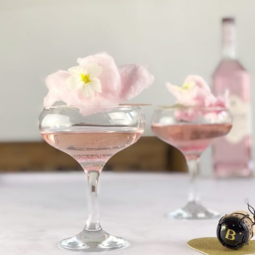 Pink Champagne and Gin Cocktail