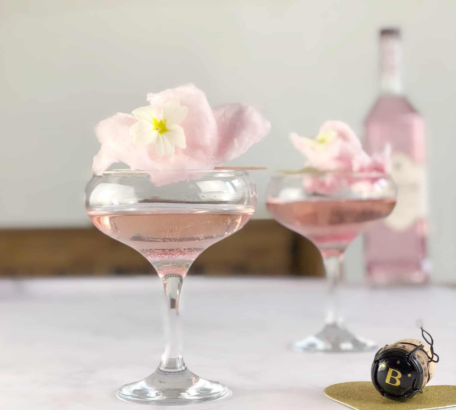 Prosecco and Gin Candy Floss Cocktail, The Candy Floss Fizz