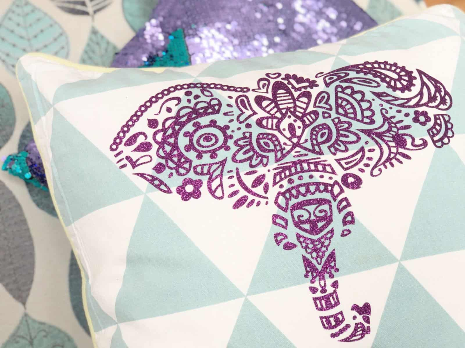 Elephant Cushion made with Cricut Maker