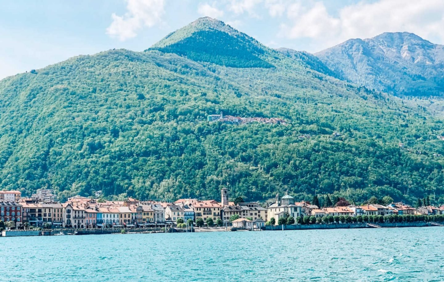 A view of Cannobio On Lake Maggiore from the water