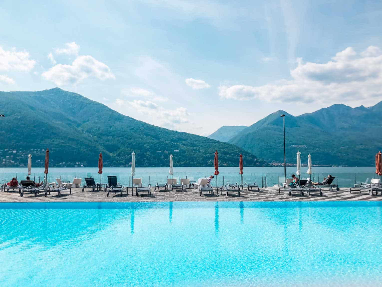The pool at Golfo Gabella Lake Resort In Maccagno