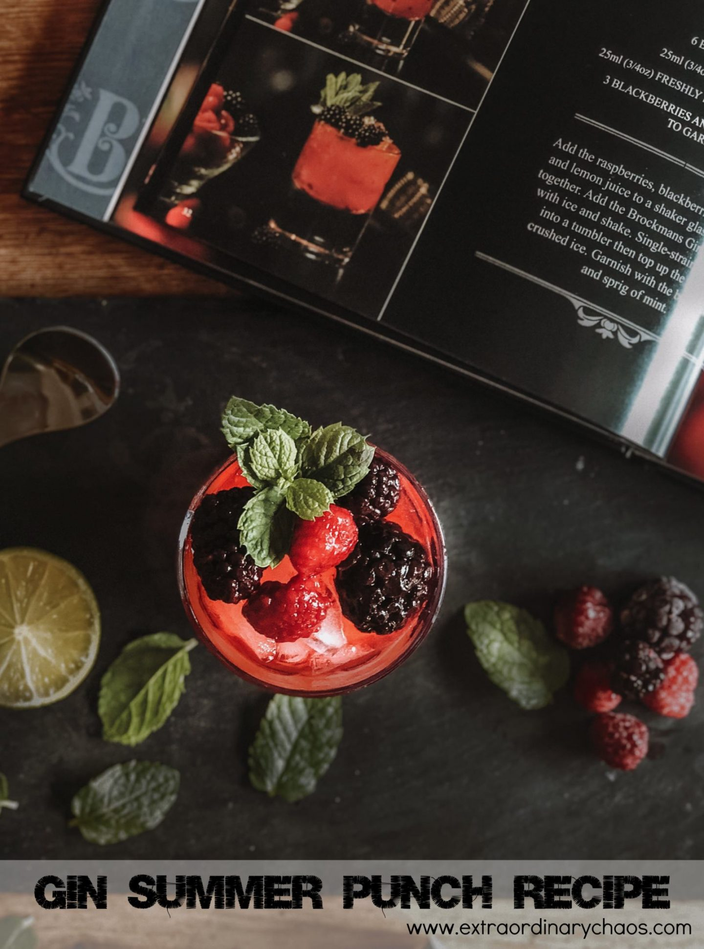 Easy gin summer punch recipe made with Brockmans Gin from the Brockmans Black Book Of Gin Cocktails