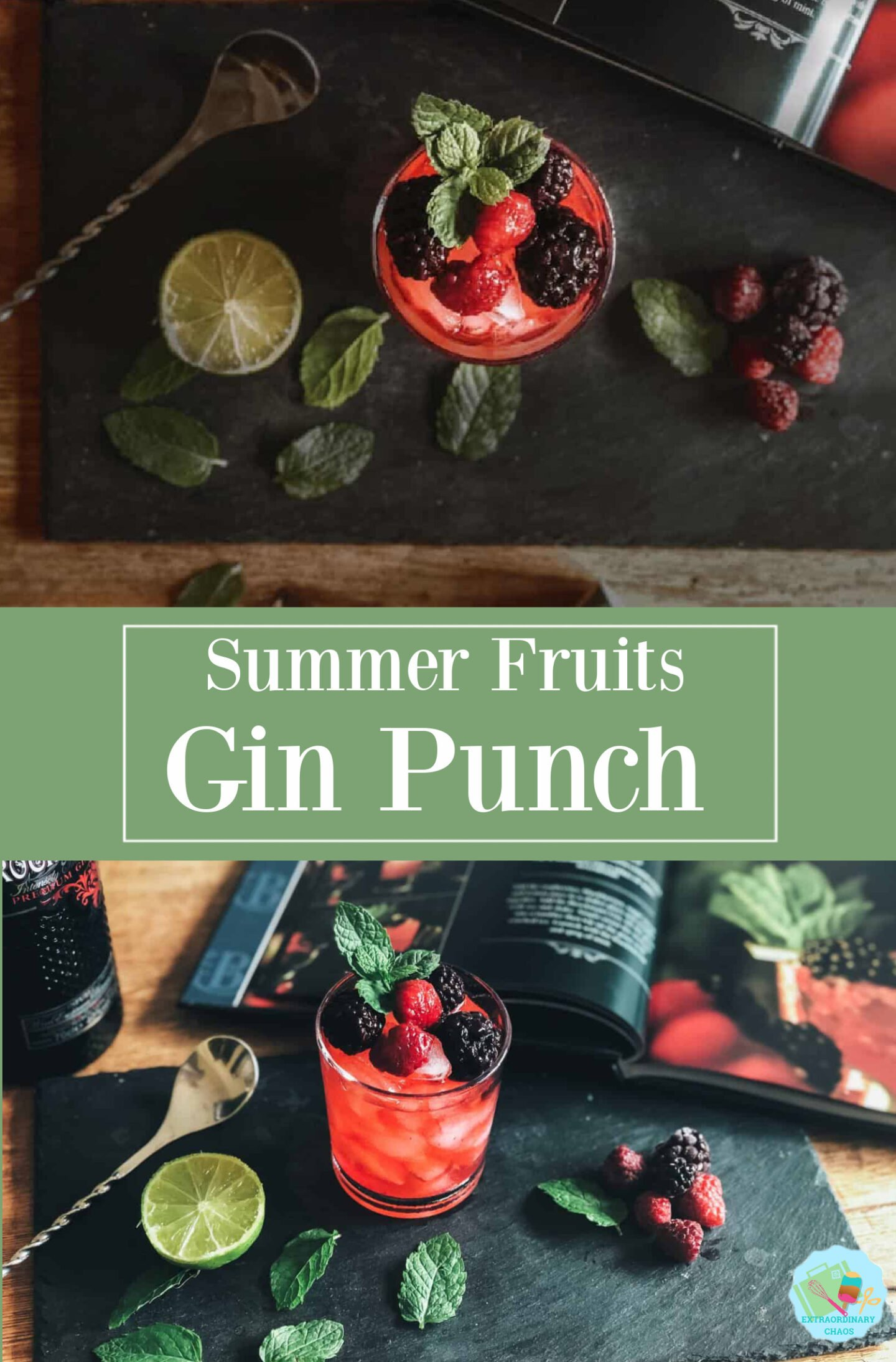 Summer fruits gin punch recipe and easy cocktail recipe to make for holiday parties and drinks