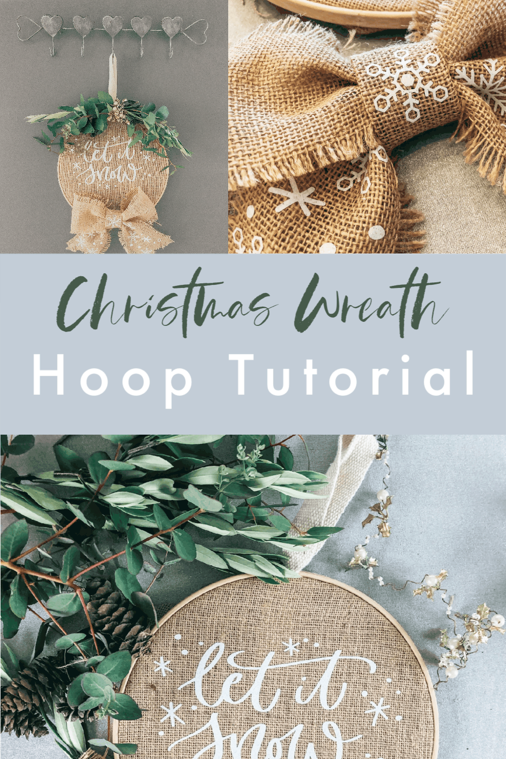 Christmas Wreath Tutorial with burlap, iron on vinyl and a hoop