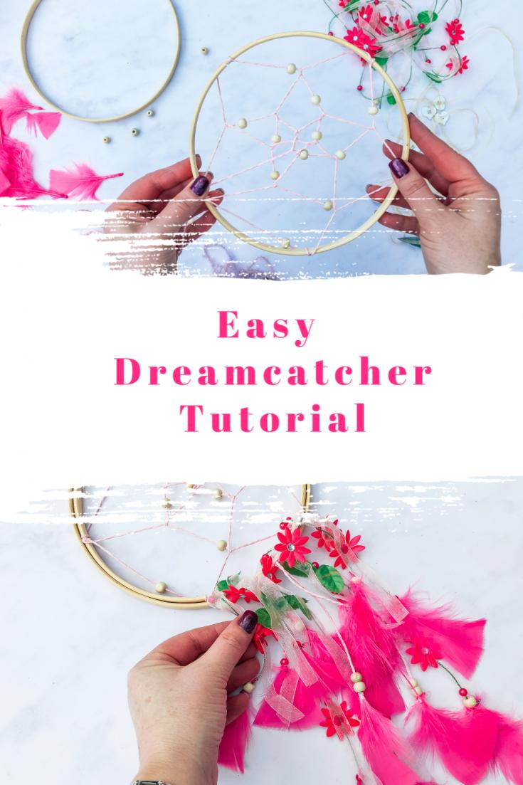 Tutorial to make a pretty pink dreamcatcher.