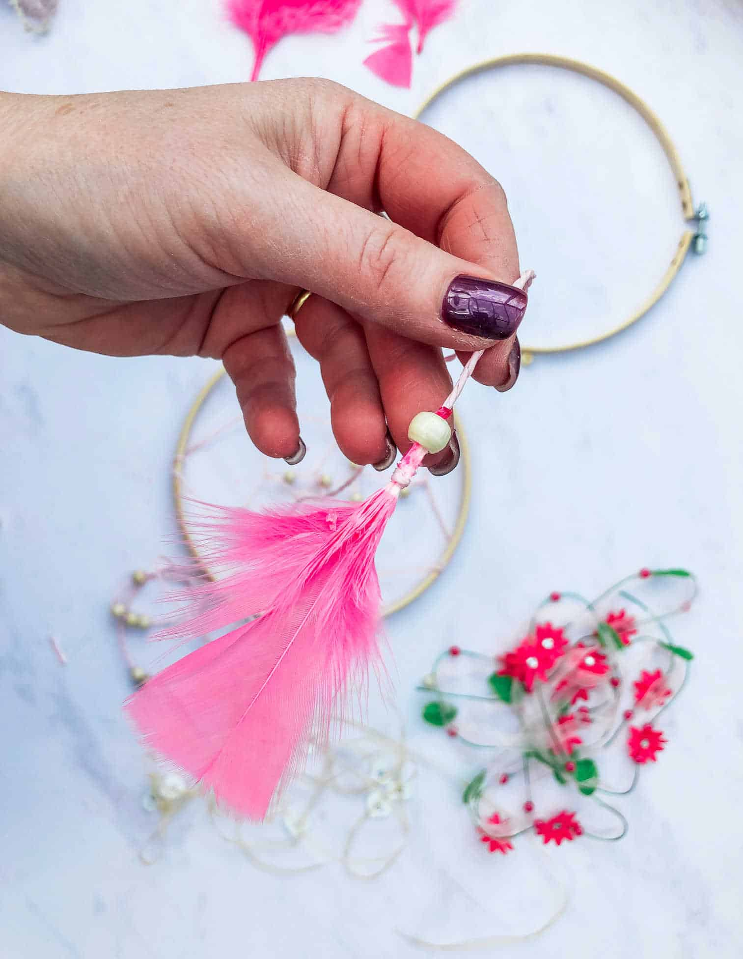 How to add feathers to ribbon