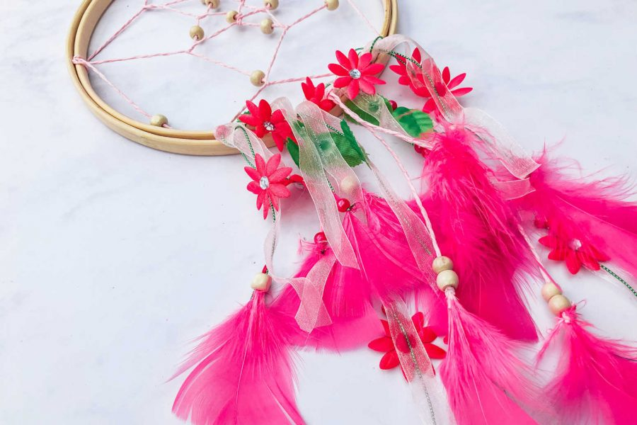 Making a pink dream catcher