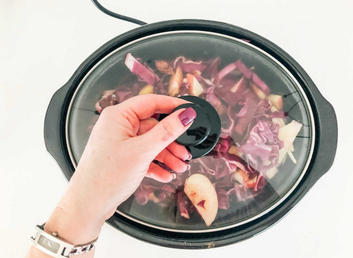 Red cabbage cooked in a slow cooker