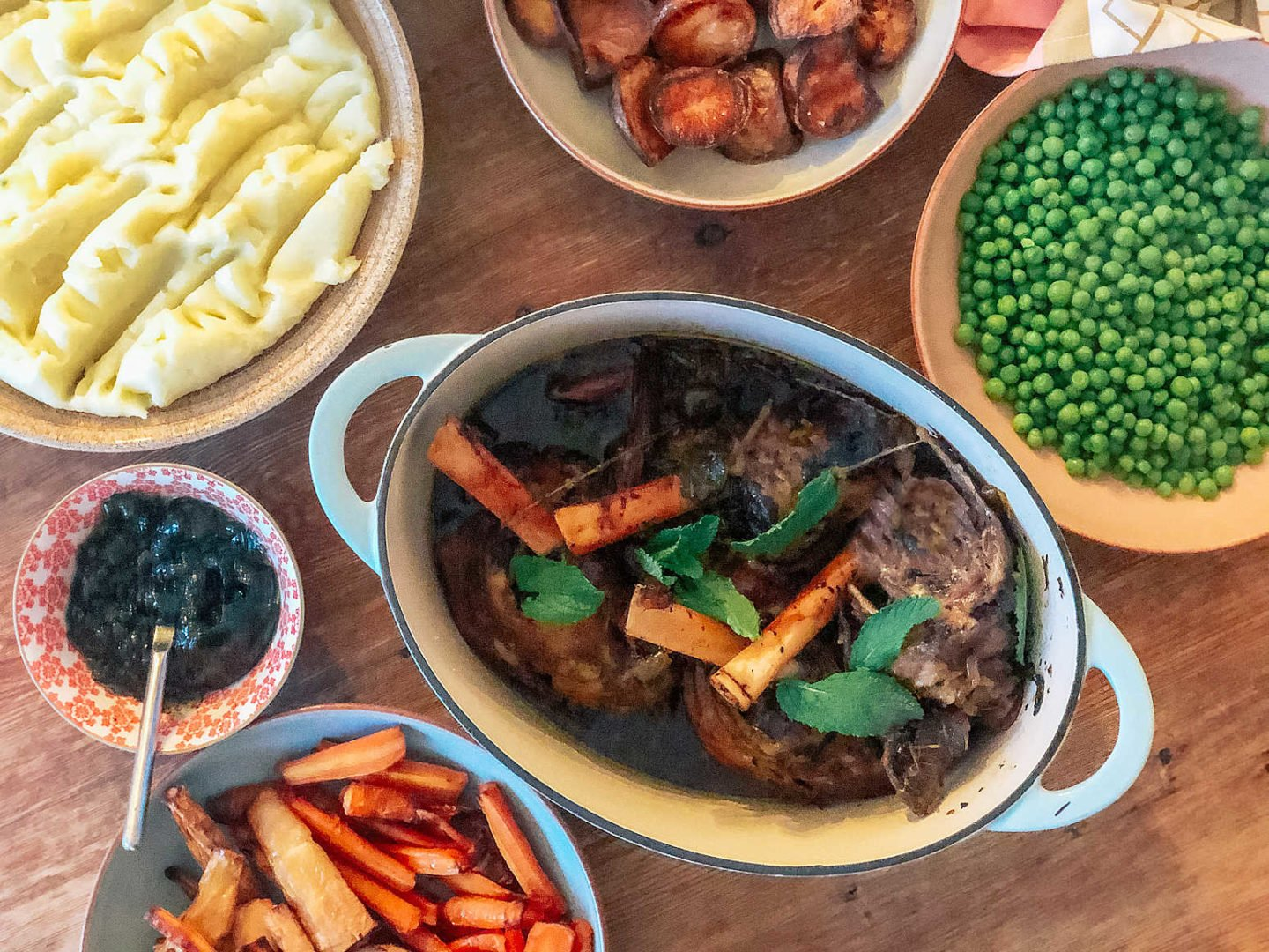 Minted slow cooker lamb shank with peas